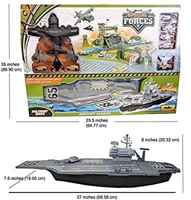 Toy Essentials Military Big Battle Base and Aircraft Carrier Combo Play Set with Vehicles, Jets, Playmat Tower