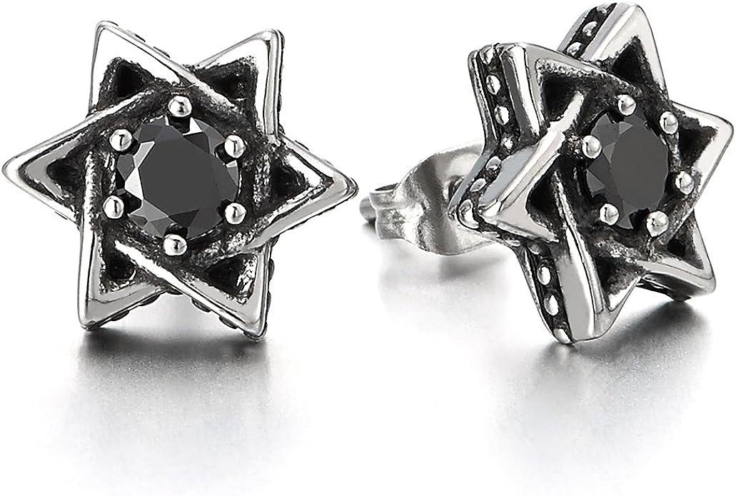 Estrella de David Pendientes con Zirconio Cúbico Negro de Hombres de Mujer, Acero Inoxidable, 2 Piezas: Amazon.es: Joyería