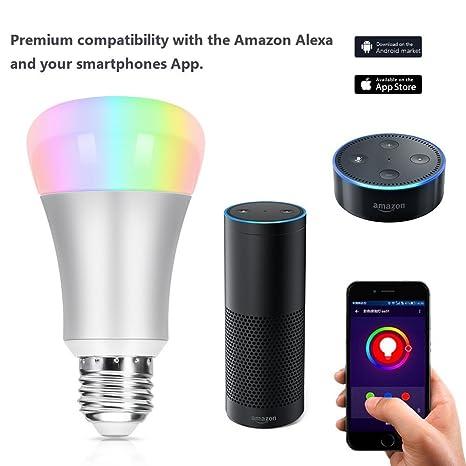 WiFi Smart bombilla LED trabajo con Amazon Alexa automatización del hogar Luz de noche 60 W ...