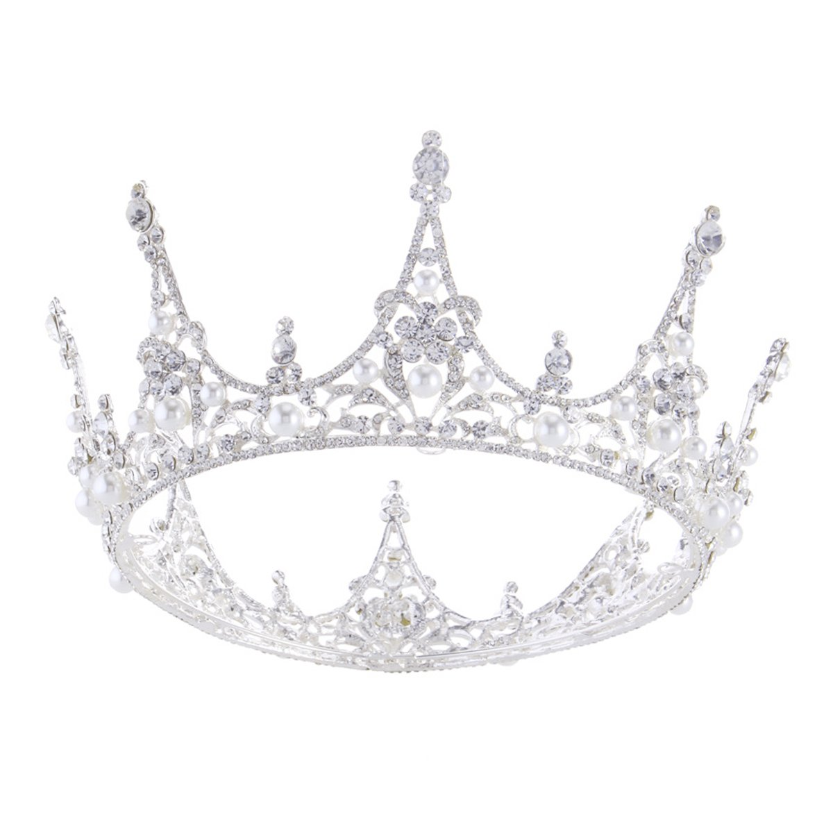 SSNUOY Silver Plated Pearl Crystal Bridal Crown Princess Crown Headpiece for Woman