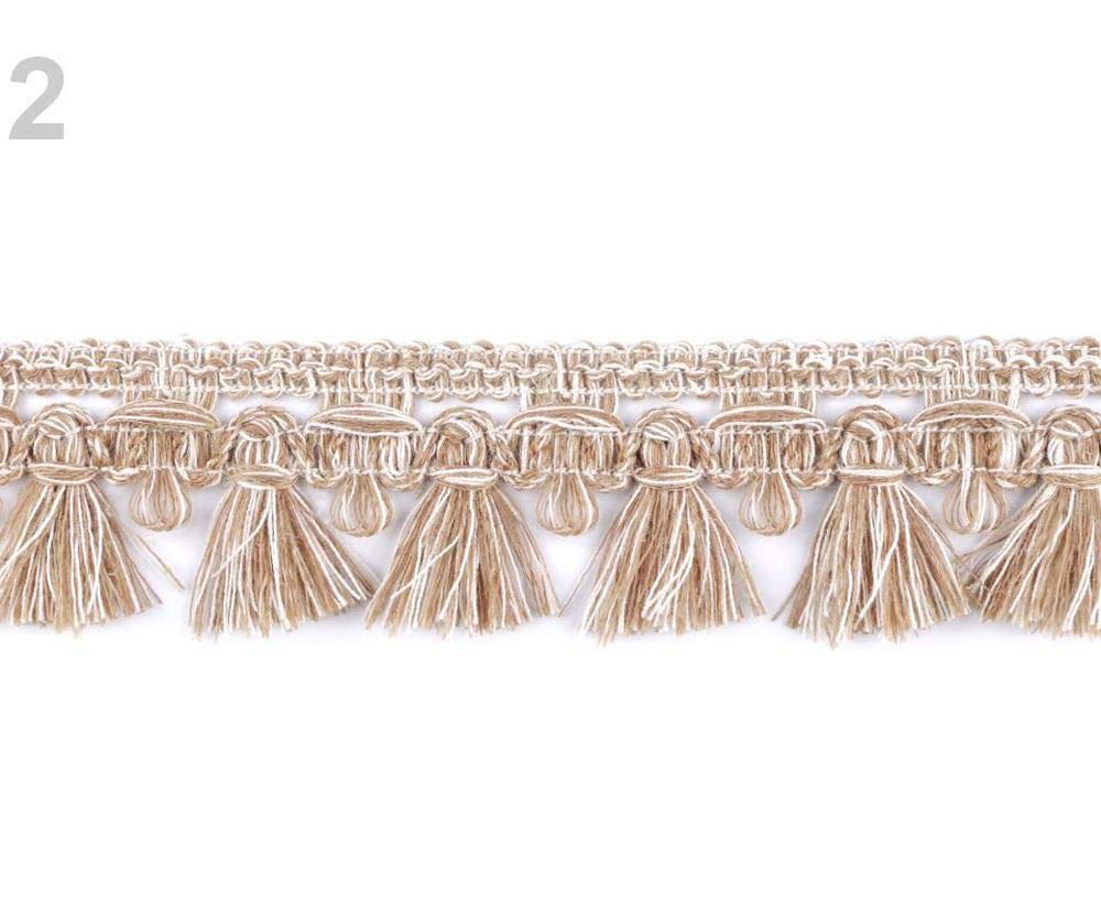 25m 2 (4) Beige Streaked Braid Trimming with Fringe Width 40mm, Fringes, and Tassels, Haberdashery by Czech Beads Exclusive