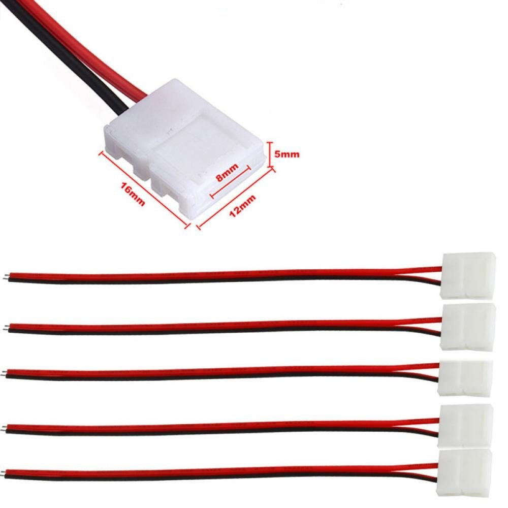 2 Pin LED Strip Light Connector,10Pcs Wire Solderless 8MM Wide PCB LED Connector Cable for 3528 Single Color Adapter Flexible Led Strip
