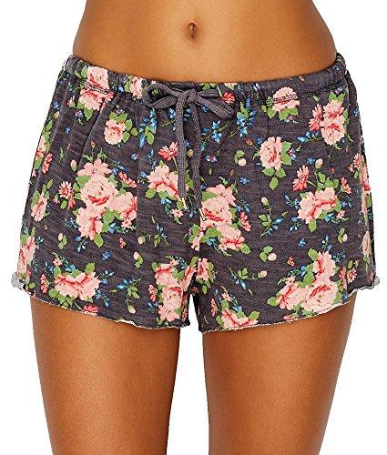 Honeydew Intimates Women's Starlight French Terry Lounge Shorts, Dark Grey Floral, Medium