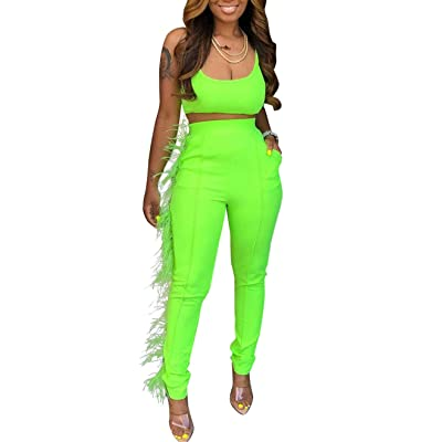 Acelitly Women's 2 Piece Outfits Tank Crop Top and High Waist Long Pants Sets Tracksuits Green: Clothing