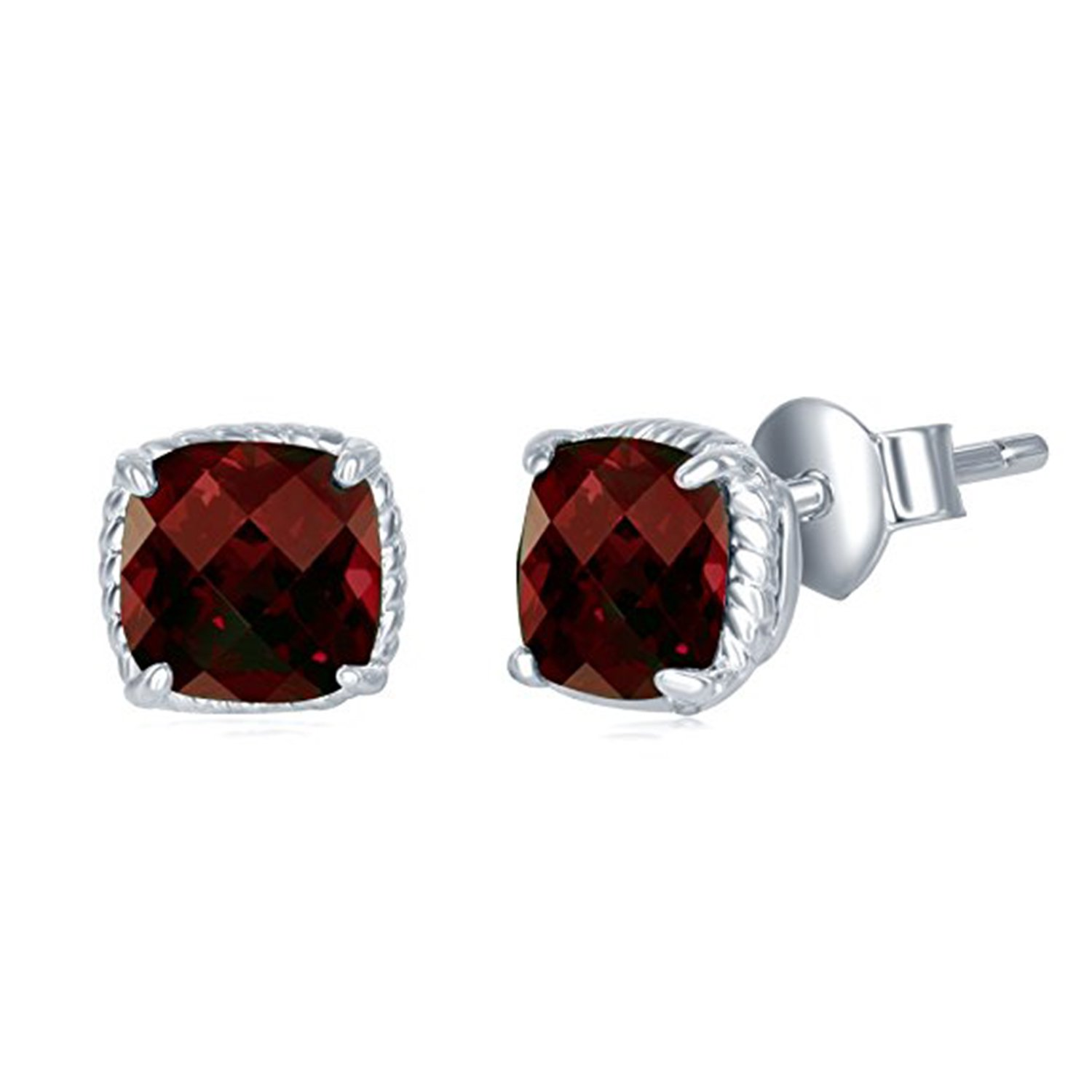 Simulated Red Ruby Studded 14K White Gold Plated Screwback Stud Earrings For Women Girls Jewelry