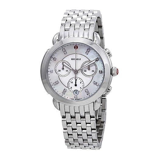 Michele - Reloj de Cuarzo Suizo para Mujer, Acero Inoxidable, Color Plateado (Modelo