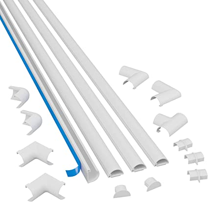 """Adhesive Backed Locking Channel Raceways  /& 1/"""" Wire Clips for Cable Management"""