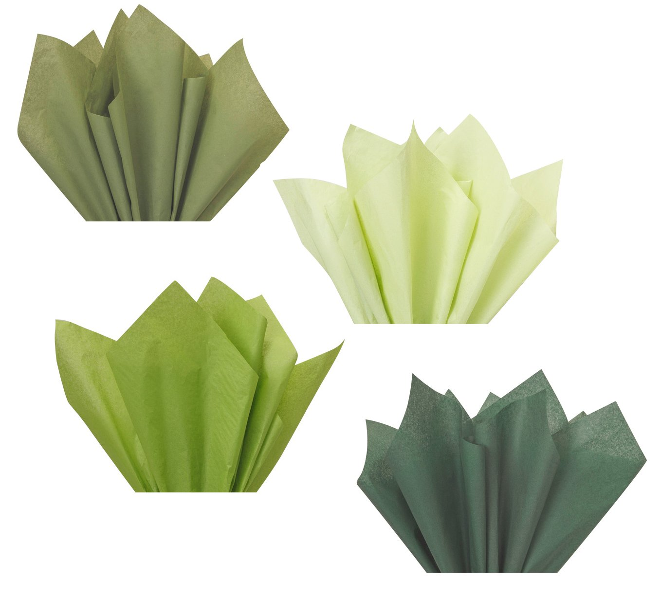 Forest Sage Olive Moss Green Assorted Mixed Color Multi-Pack Tissue Paper for Flower Pom Poms Art Craft Wedding Bridal Shower Party Gift Bag Basket Filler Decoration by Secret for Longevity