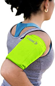 Phone Armband Sleeve: Running Sports Arm Band Strap Holder Pouch Case for Exercise Workout Compatible with iPhone 5S SE 6 6S 7 8 X Plus iPod Android Samsung Galaxy S5 S6 S7 S20 Neon Small