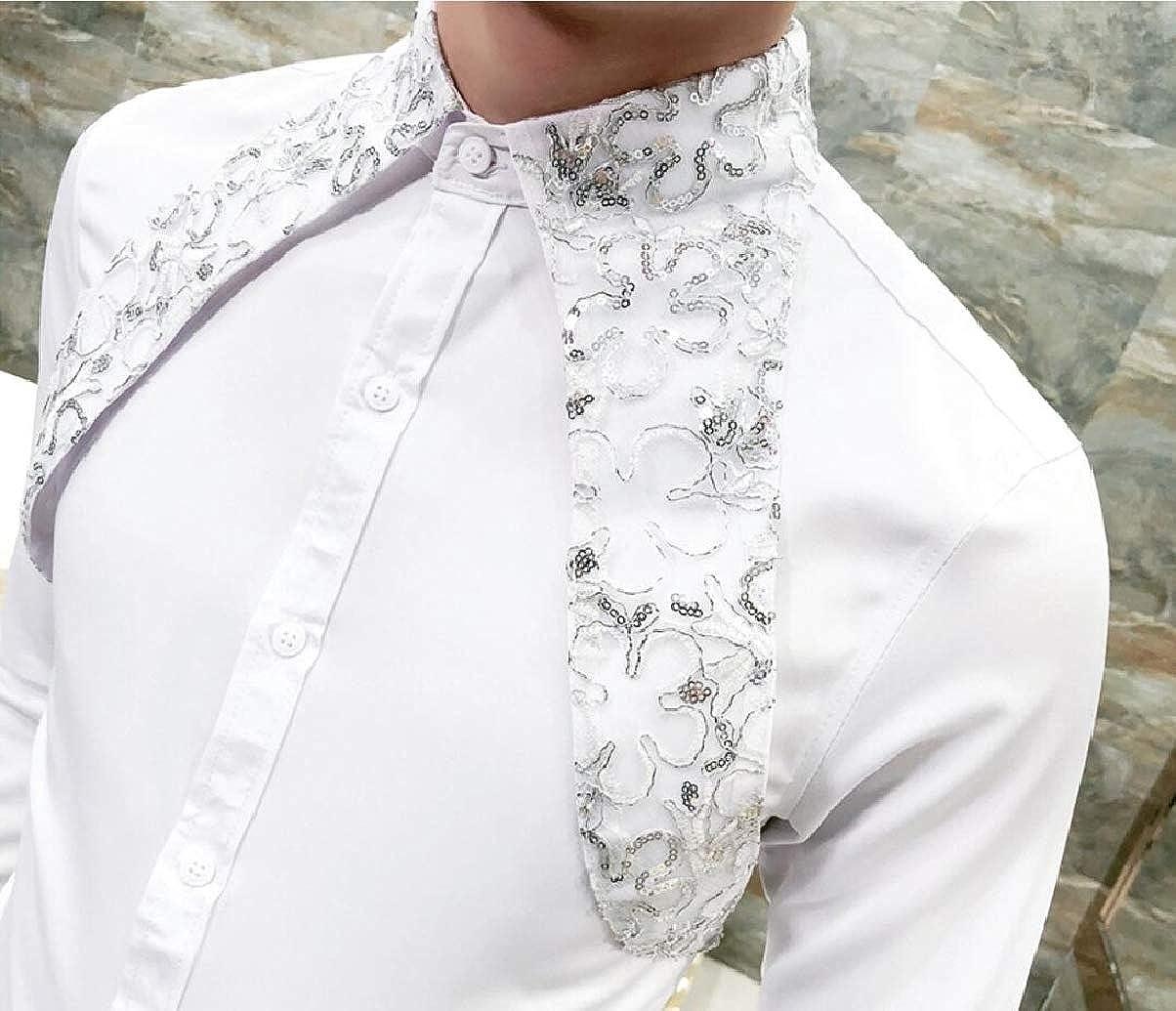 ZXFHZS Mens Long Sleeve Sequins Shirt Dance Prom Party Button Down Fashion Shirt