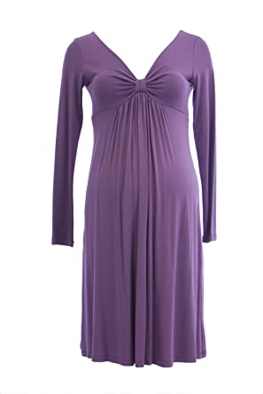 Olian Maternity Women s Pinched V-Neck Long Sleeve Dress X-Small Mauve 56e2e66688