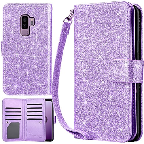 UrbanDrama Galaxy S9 Plus Case, S9 Plus Wallet Case Glitter Shiny PU Leather Credit Card Slot Cash Holder Protective Case Compatible for Samsung Galaxy S9+ 6.2, Purple
