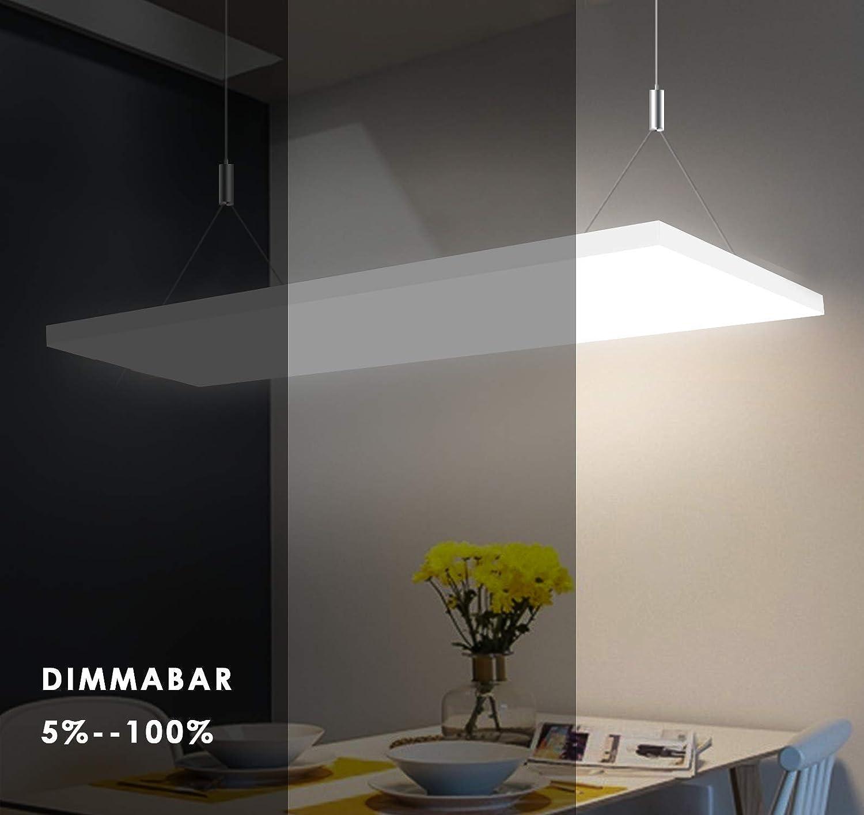 Fernbedienung 2700-6500K Einstellbare Seilaufh/ängung und LED Trafo 35W Dimmbar und Farbtemperatur Einstellbar Deckenleuchte Inkl Albrillo Frameless LED Panel 120x30cm