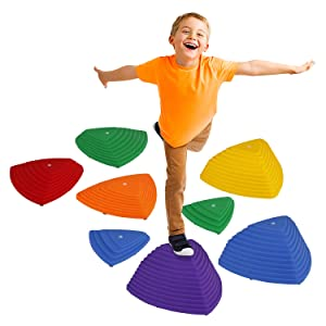 Little Dynamo   Balance Stepping Stones for Kids   Set of 8 Hilltop and Riverstones (4 Sizes: XL L M S) with Grip Upgrade   Montessori and Gross Motor Skills Toys for Toddlers   Gymnastics for Kids