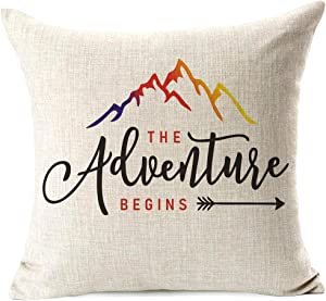 """963RW Inspirational Gifts The Adventure Begin Arrow and Mountain Decorative Cotton Linen Throw Pillow Cover(18""""x 18""""Inch)"""