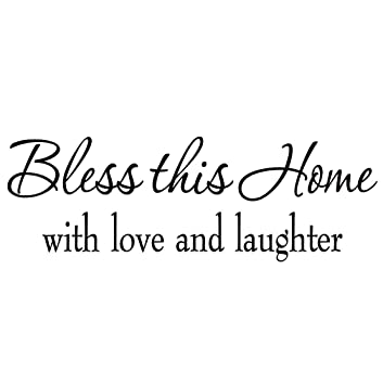 bless this home with love and laughter decal wall quote religious sayings vinyl wall art decor