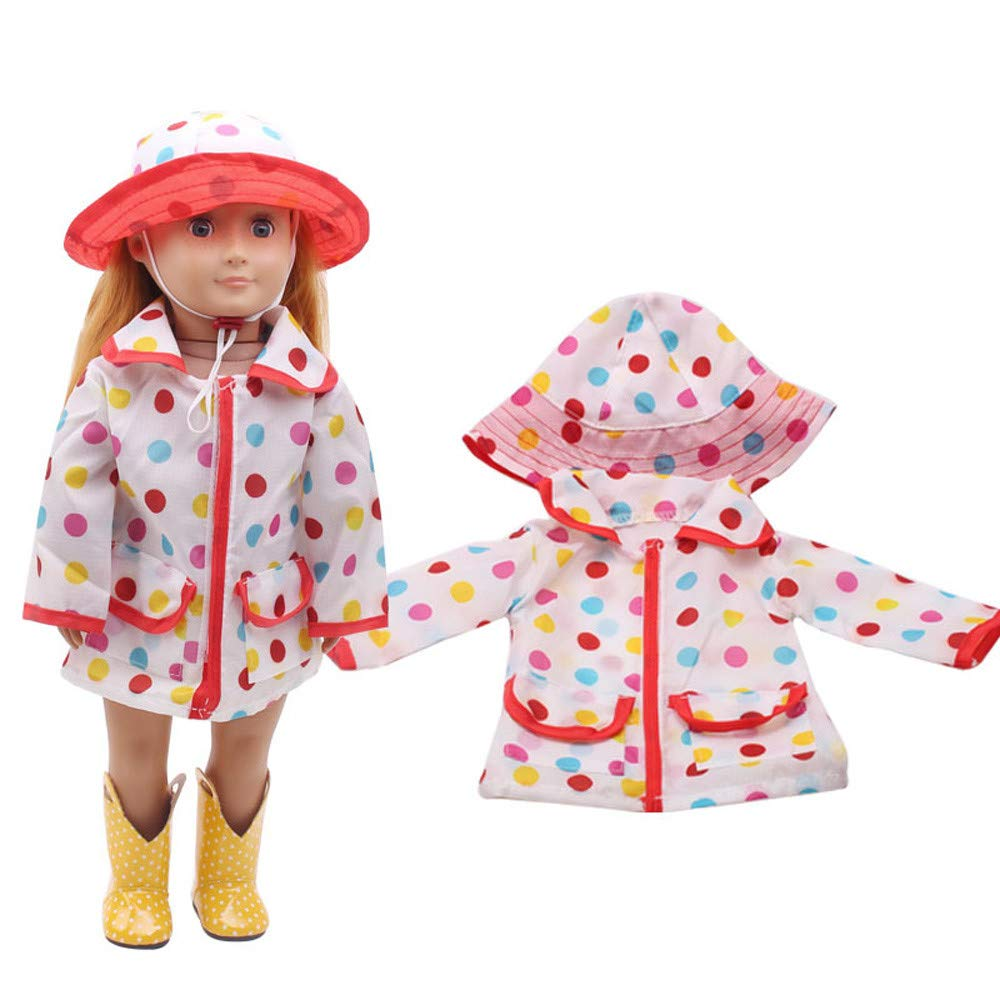 Gbell Hat Raincoat Rain Clothes Suit for 18 Inch American Girl Doll Clothes Accessory Girl's Toy (Multicolor)