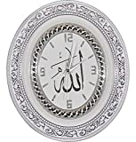 Islamic Oval Wall Clock Home Decor ''Allah'' Silver and White 12.5 X 14.5in