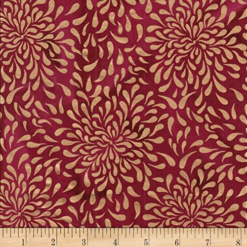 (Textile Creations Indian Batik Tear Drop Gold Print Batik Wine Fabric by The Yard)
