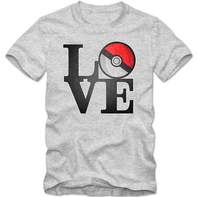Pokemon Love Camiseta | Hombre | Pokeball | Escritura | Go | Cartoon | T-Shirt: Amazon.es: Ropa y accesorios