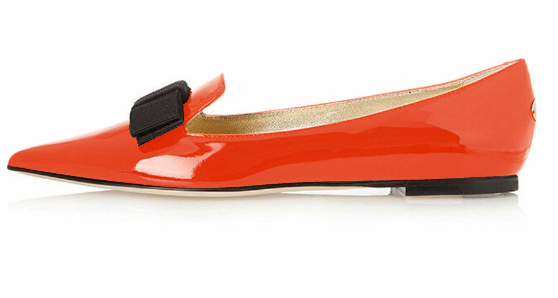 Eldof Women's Flats, Pointed Toe Flats Pumps, Patent Leather Flats Pumps, Walking Dress Office Classic Comfortable Flats B07DHL3N3M 8 B(M) US|Orange