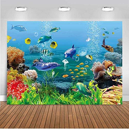 10X7FT Underwater World Background Under Sea Finding Nemo Tropical Fish Coral Aquarium Photography Backdrop Video Vinyl Studio Backdrop Props TVV009 LELEZ