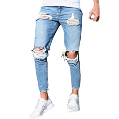 c8764e3d Image Unavailable. Image not available for. Color: Katesid Men's Hipster Hip  Hop Ripped Slim Fit Straight Stretch Destroyed Jeans with Broken Holes