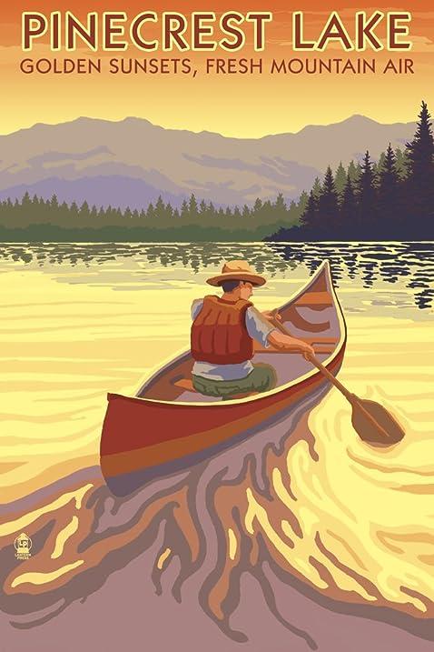 Amazon.com: Pinecrest Lake, California - Canoe Scene (9x12 Art Print ...