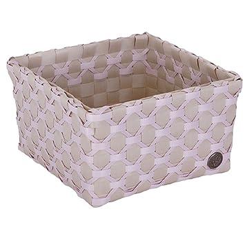HANDED BY Caja Albi – Cesta Decorativa para Caja de Almacenamiento Gris Claro Crema Color Rosa
