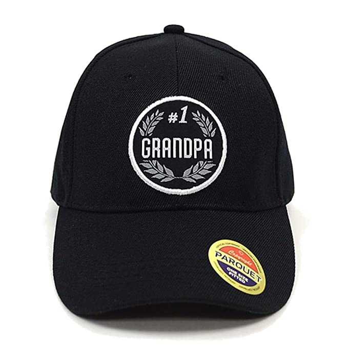 1245ba9e Men's #1 Grandpa Embroidered Adjustable Baseball Hat (Black) at Amazon Men's  Clothing store: