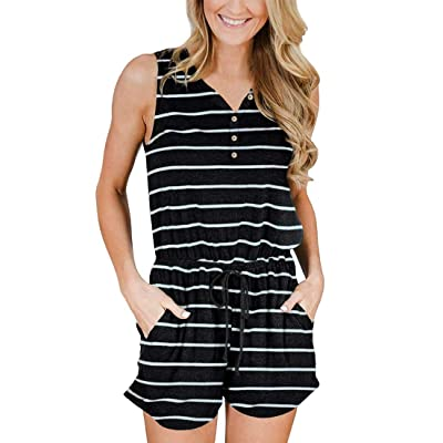 YIBOCK Women's Summer Sleeveless Button Down Striped Short/Long Jumpsuit Cami Romper: Clothing