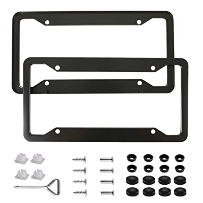 BlingtoTooth Fashion 4 Holes Black Matte Aluminum Alloy License Plate Frame Cute USA Standard Car/Truck/SUV License Plate Holder Cover(2PCS): Automotive
