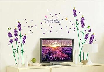 UfengkeR Romantisch Lila Lavendel Blumen Und Schmetterlinge WandstickerWohnzimmer Schlafzimmer Entfernbare Wandtattoos Wandbilder