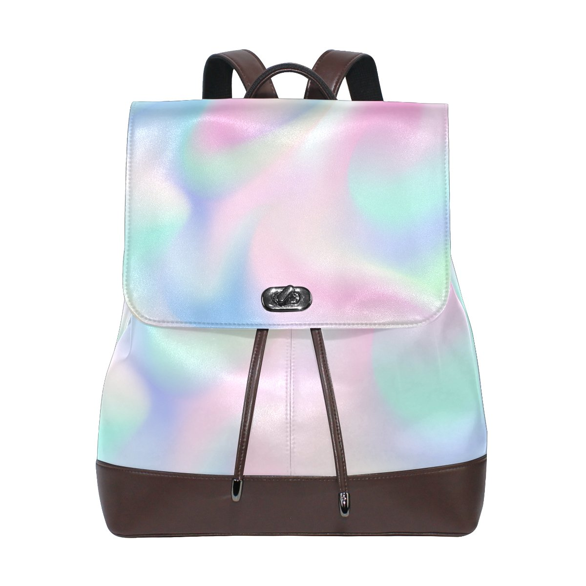 08c1ca07e35c KUWT Abstract Art Rainbow Color Galaxy PU Leather Backpack Photo Custom Shoulder  Bag School College Book Bag Casual Daypacks Diaper Bag for Women and Girl