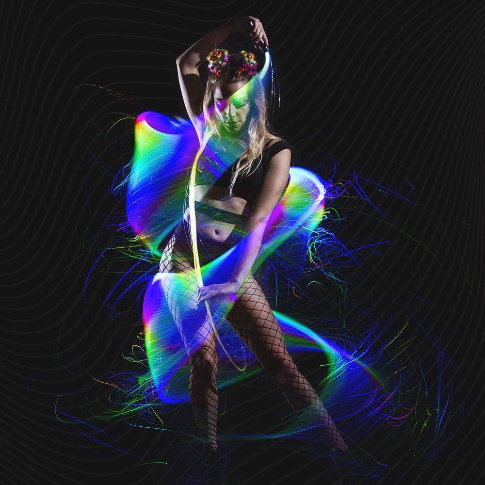 Uonlytech Fiber Optic Whip Blue Light Space Whip Remix Super Bright Rave Dance Whip Battery Powered for Show Party EDM Music Festival