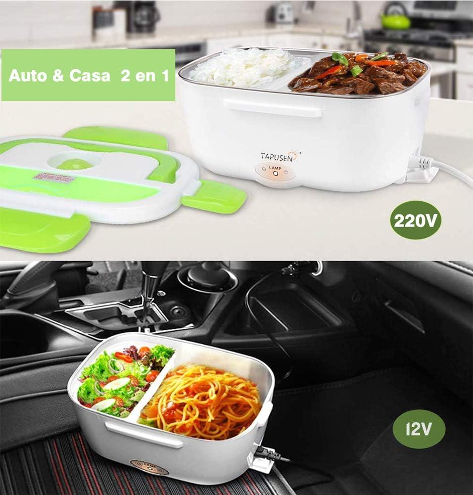 Tapusen Lunch Box Elettrico 2 in 1 per Auto e Lavoro Tarter Elettrico 220V e 12V scaldavivande Elettrico in Acciaio Inox 1.5L con Due comparti e Cucchiaio Verde