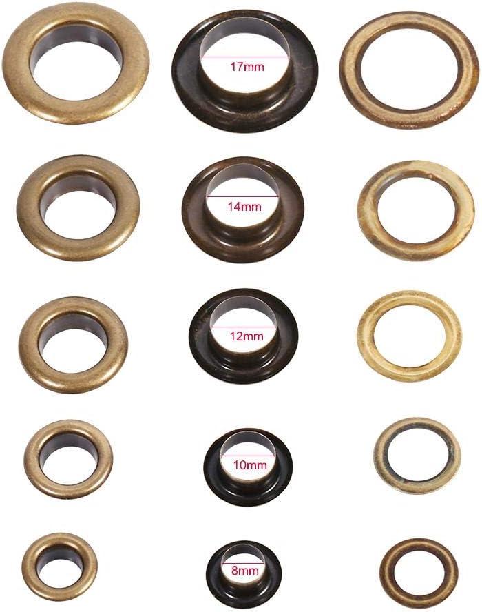 20//100/conjuntos redondo ojales Reemplazo de Accesorios de decoraci/ón de tuercas bronce negro oro 8mm 100sets Grommets Eyelets