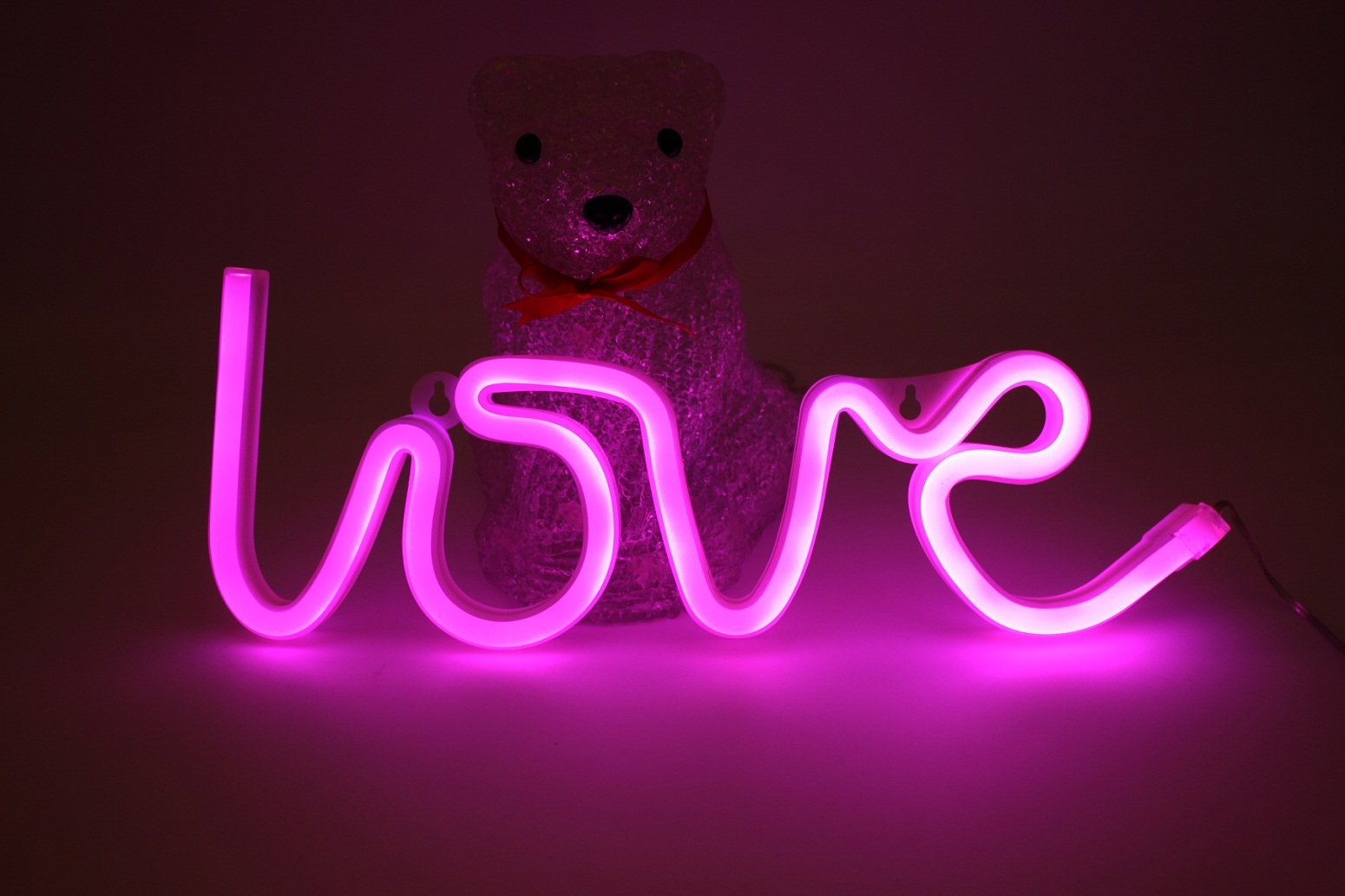 Pink Love Neon Signs LED Light 6×12 Inch USB or Battery Powered Decorative Lights For Teen Girls Bedroom Bar Pub Hotel Party Kids Home Dorm Aesthetic Room Wall Decor