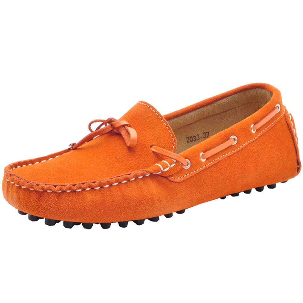 MOLECOLE Women's Casual Comfort Driving Suede Leather Loafers&Slip-Ons Shoes 24208-2(Orange,US8.5)