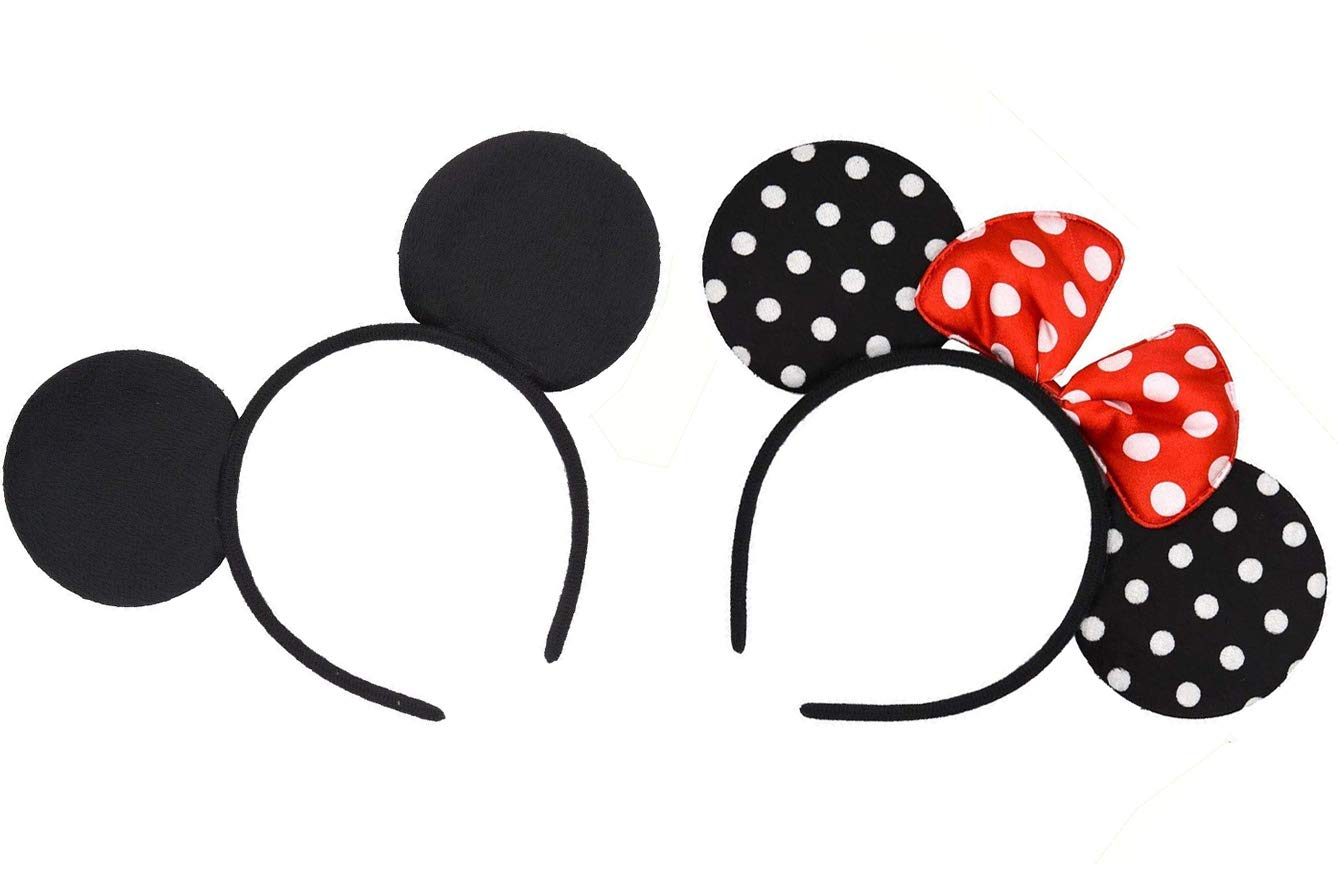 e8682ae1f8ce1 Amazon.com  Kenecy Mickey Mouse Ears Headband Adult Solid Black and Bow Minnie  Mouse Ears Headband for Boys and Girls Birthday Party or Celebrations Set  of ...