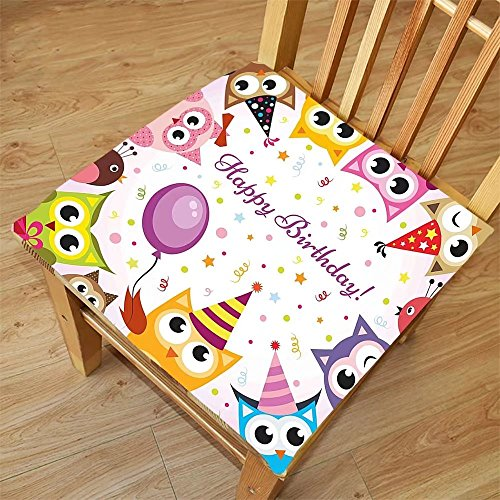Nalahome Set of 2 Waterproof Cozy Seat Protector Cushion Birthday Decorations for Kids Party Owl Family with Colorful Cone Hats on Confetti Backdrop Multicolor Printing Size 22x22inch by Nalahome