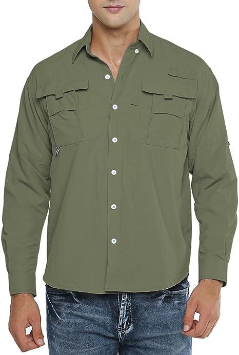Jessie Kidden Camisa de pesca de manga larga con protección UV de secado rápido para hombre, para trabajo, viajes, militar: Amazon.es: Deportes y aire libre