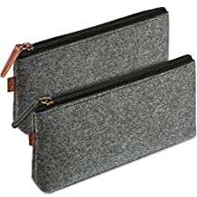 ProCase Felt Pencil Case, Multi-Functional Stationery Pouch Zipper Bag for Pens, Pencils, Gel Pens, Markers and other School Supplies -2 Pack, Black