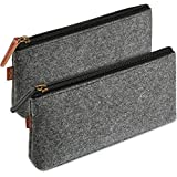 ProCase Pencil Bag Pen Case, Felt Students Stationery Pouch Zipper Bag for Pens, Pencils, Highlighters, Gel Pen, Markers and other School Supplies -2 Pack, Black