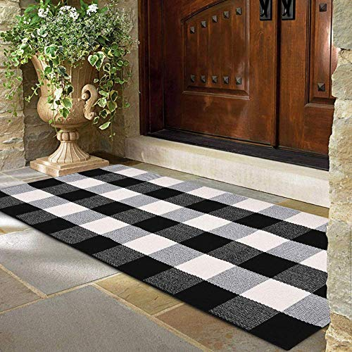 """Buffalo Plaid Rug - 24""""x51"""" Check Outdoor Door Mat - Black and White Checkered Cotton Blend Farmhouse Print Rugs for Kitchen/Front Porch/Décor/Spring Decorations - Gingham Checked Welcome Doormat"""