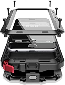 iPhone 6s Plus Case,Heavy Duty Shockproof [Tough Armour] Water Resistant Metal Aluminum Alloy Case with Silicone Built-in Screen Dual Layer Protector for Apple iPhone 6 Plus - Black