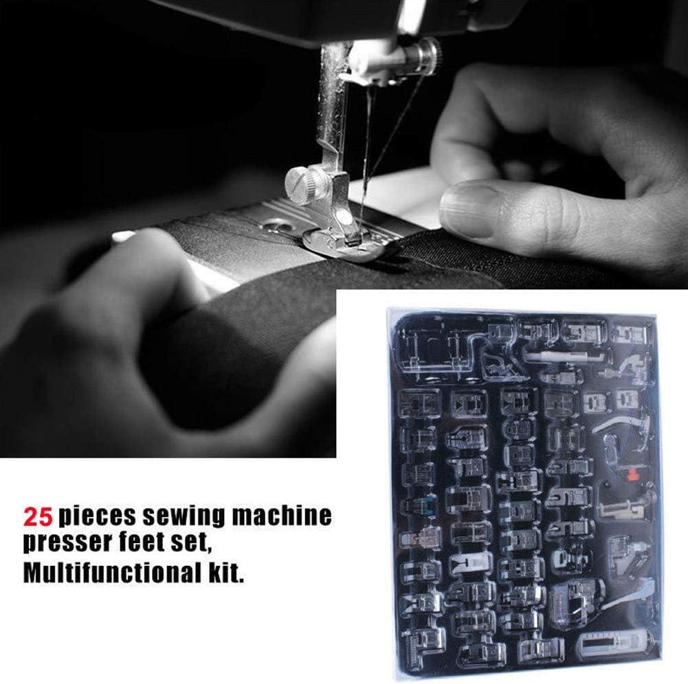 25 unids Pies prensatelas Set Máquina de coser Pie Pie Prensatelas industrial Combinación de coser kit de accesorios de la máquina Set: Amazon.es: Hogar