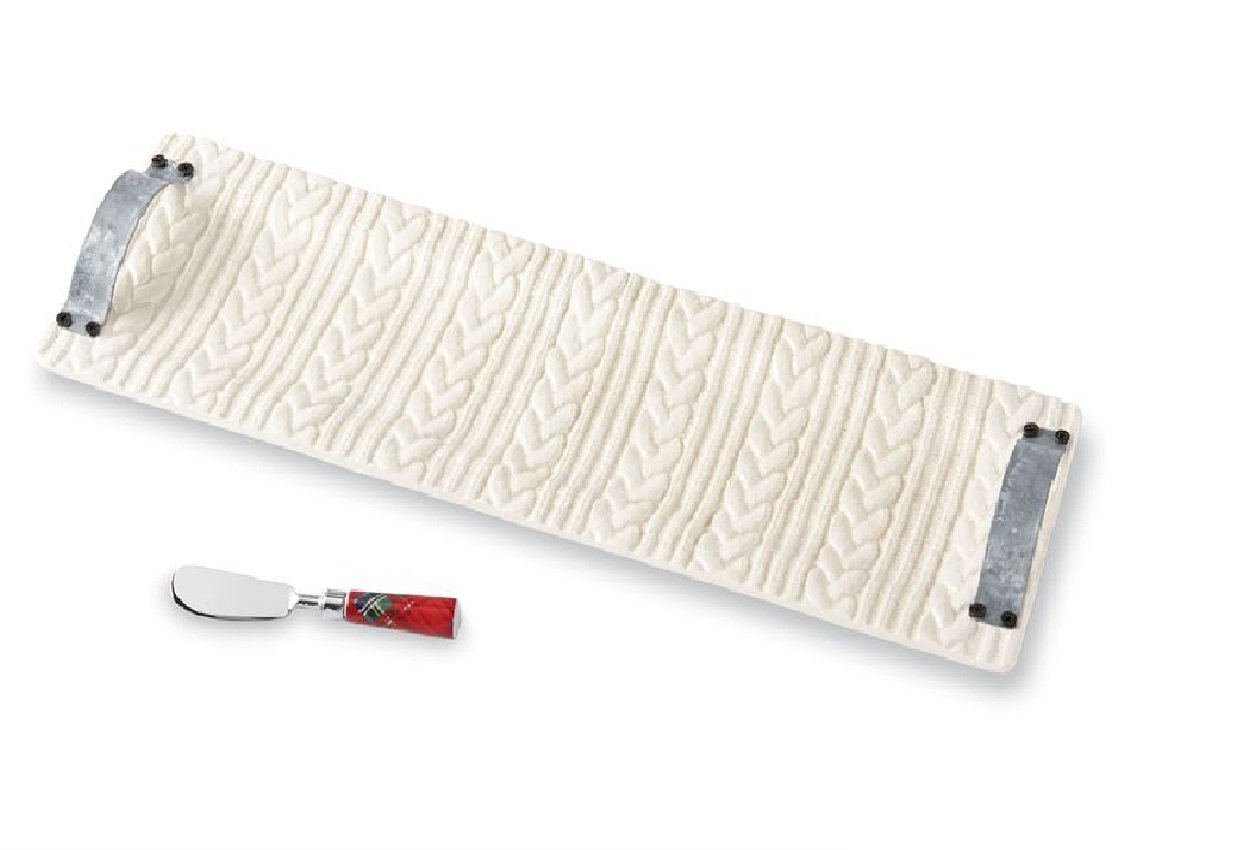 Mud Pie 4074143 Cable Knit Long Set Serving Platter, Tray 7 inches x 24.5 inches | Spreader 5.75 inches, White