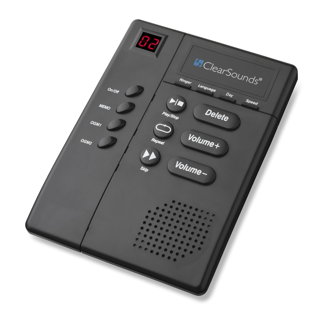 ClearSounds CSANS3000 Amplified Digital Answering Machine with Slow Speech and Big Buttons - Black
