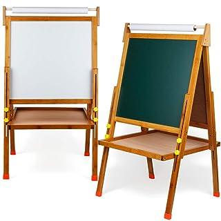Lavagne magnetiche e meccaniche Cavalletto da cavalletto per pittura su entrambi i lati, 3-in-1Preschool Toddler Stand Up Tavolo da disegno in legno Lavagna magnetica Lavagna Lavagna pieghevole Altezz